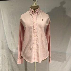 Ralph Lauren pink and white stripe shirt